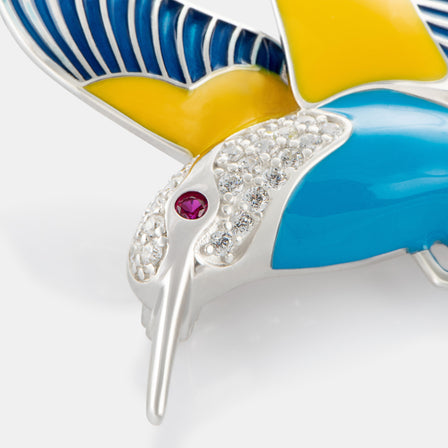 Enamel Hummingbird Brooch with Sterling Silver