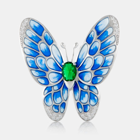 Enamel Butterfly Brooch with Sterling Silver