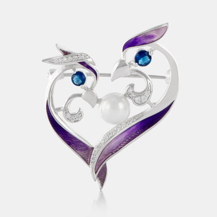 Purple Enamel Phoenix Love Brooch with Sterling Silver