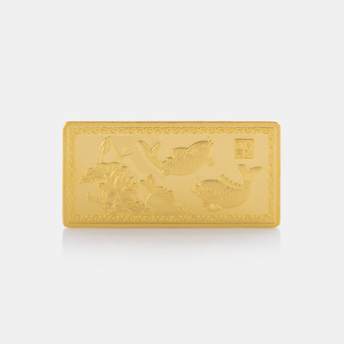 50G 24K Gold Fish and Lotus Bar