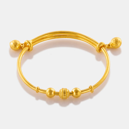 24K Gold Three Bead Baby Bangle
