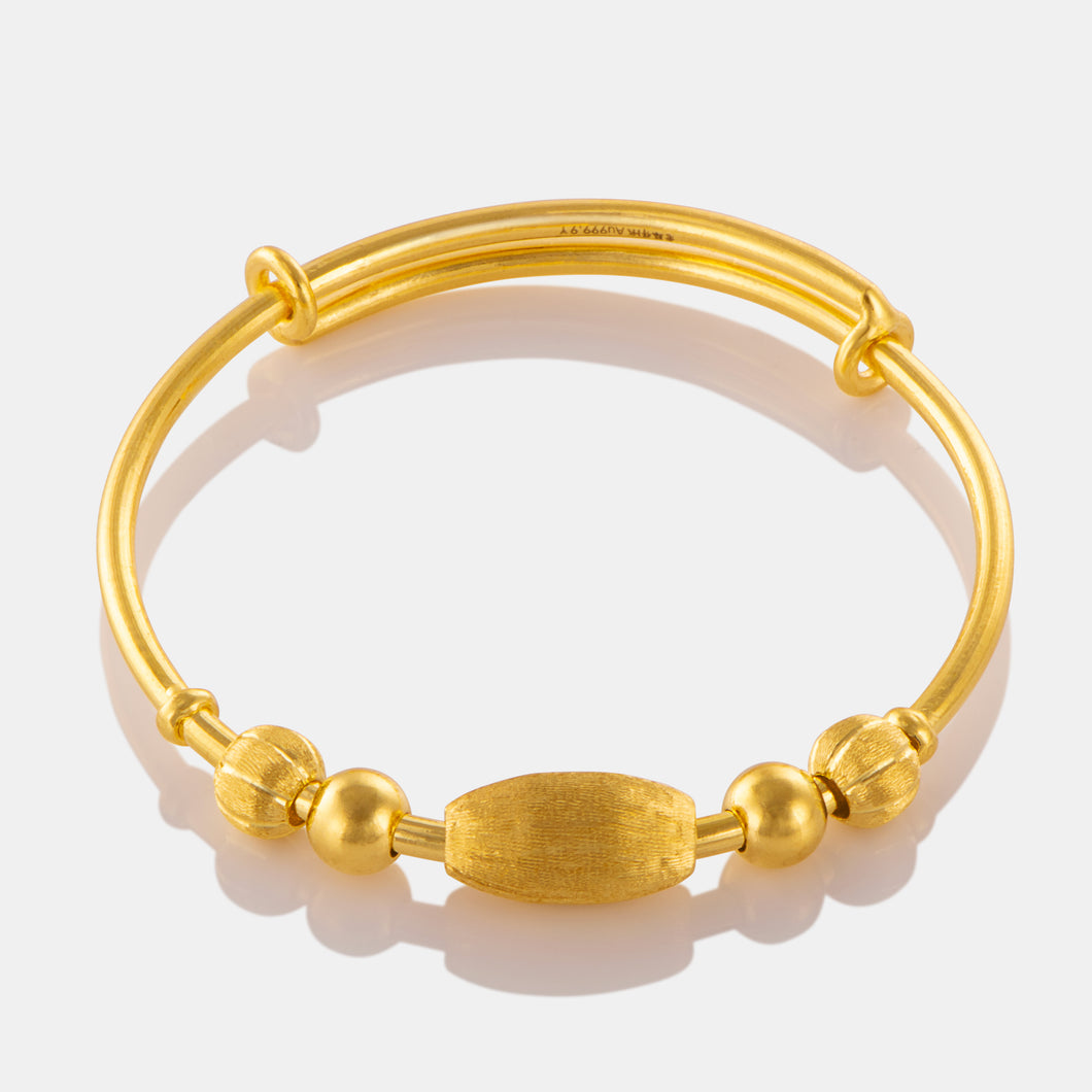 24K Gold Brushed Seed Charm Baby Bangle