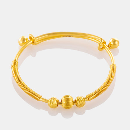 24K Gold Beaded Wire Baby Bangle