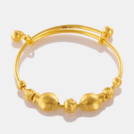 24K Gold Double Fish Charm Baby Bangle