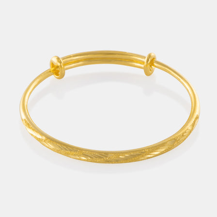 24K Gold Etched Baby Bangle
