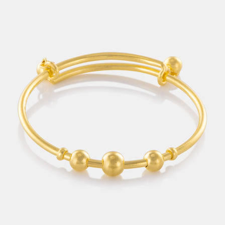 24K Gold Bead Charm Baby Bangle