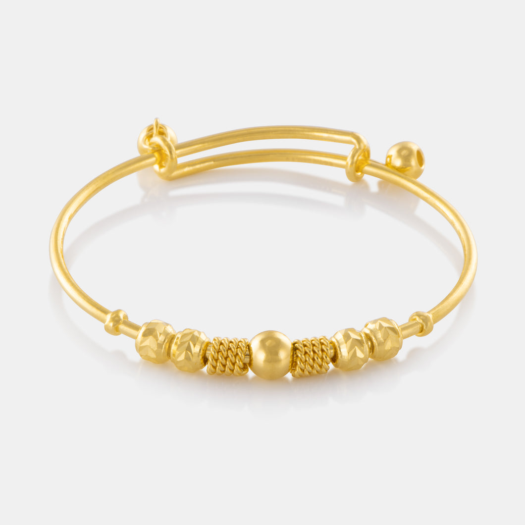 24K Gold Fancy Bead Charm Baby Bangle
