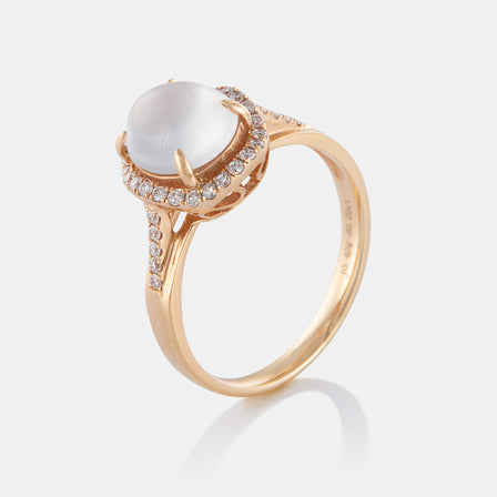Jadeite Ring With 18K Rose Gold And Diamonds