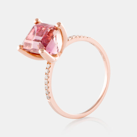 3.70ct Pincess Cut Watermelon Tourmaline Ring with 18K Rose Gold and Diamonds