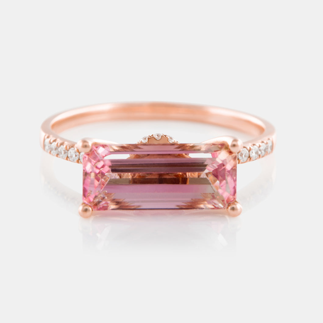 2.70ct Rectangle Cut Watermelon Tourmaline Ring with 18K Rose Gold and Diamonds