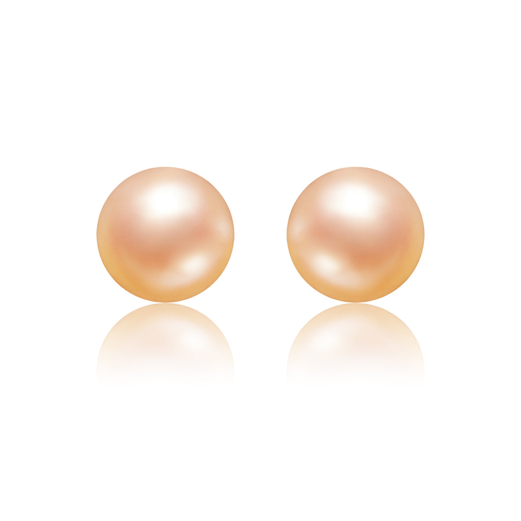 Small Freshwater Pearl Peach Stud Earrings