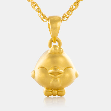 24K Gold Zodiac Chicken Pendant