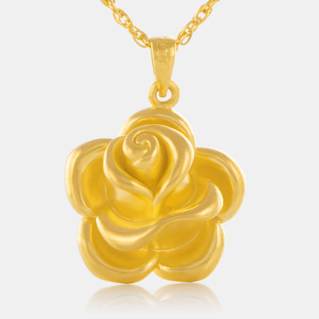 24K Gold Rose Pendant