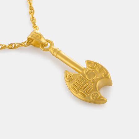 24K Gold Mini Axe Pendant