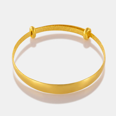 24K Gold Smooth Flat Baby Bangle