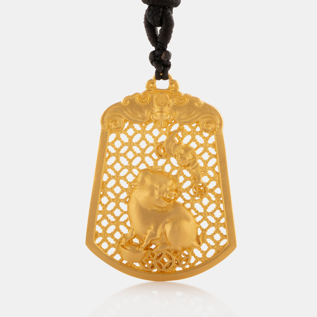 24K Antique Gold Zodiac Pig Necklace