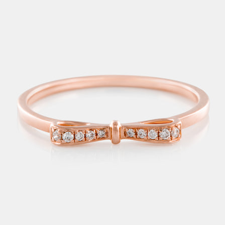 Diamond Bow Ring with 18K Rose Gold