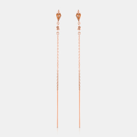 Diamond Bezel Chain Earring with 18K Rose Gold