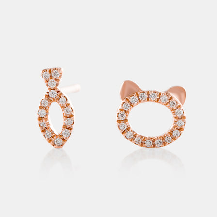 Mini Cat and Fish Stud Earrings with 18K Rose Gold