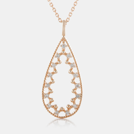 Diamond Pear Shaped Necklace with 18K Rose Gold