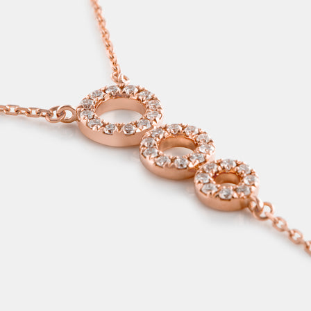 Diamond Ascending Circle Lariat Necklace with 18K Rose Gold