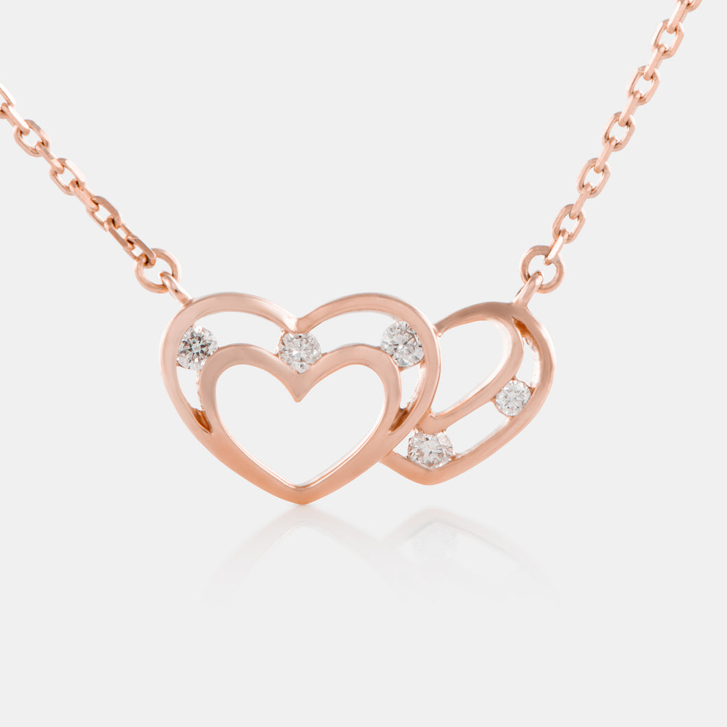 Diamond Interlocking Heart Necklace with 18K Rose Gold