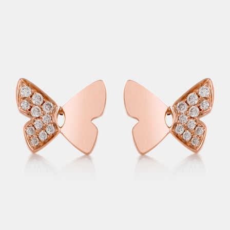 Diamond Butterfly Stud Earrings with 18K Rose Gold
