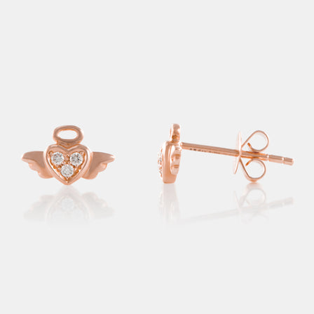 Diamond Angel Stud Earrings with 18K Rose Gold