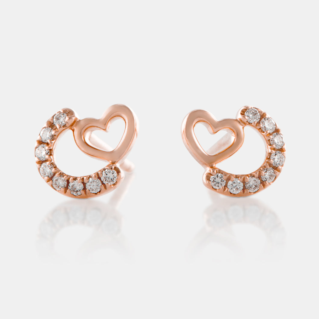 Diamond Mini Heart Stud Earrings with 18K Rose Gold
