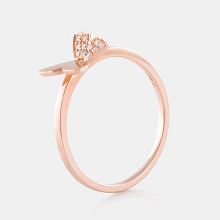 Diamond Butterfly Ring with 18K Rose Gold