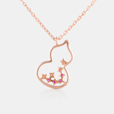 Ruby Hulu Necklace with 18K Rose Gold  and Diamonds