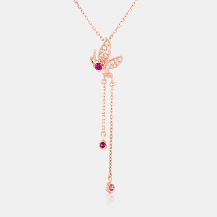 Ruby Butterfly Lariat Necklace with 18K Rose Gold  and Diamonds