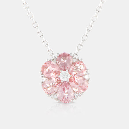 Pink Tourmaline Anemone Necklace with 18K White Gold and Diamonds