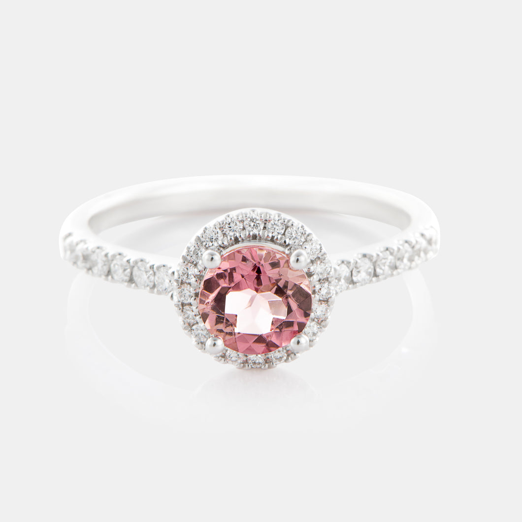 0.55ct Round Pink Tourmaline with 18K White Gold and Diamond Halo