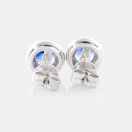 1.52ct Round Blue Sapphire Earrings with 18K White Gold and Diamond Halo