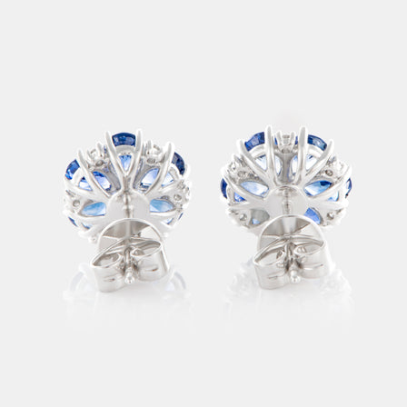 Blue Sapphire Anemone Earrings with 18K White Gold and Diamonds