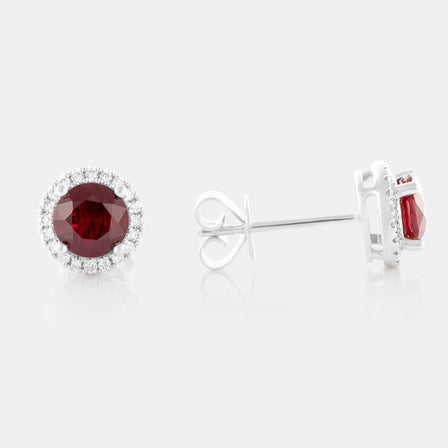 1.36ct Round Ruby Earrings with 18K White Gold and Diamond Halo