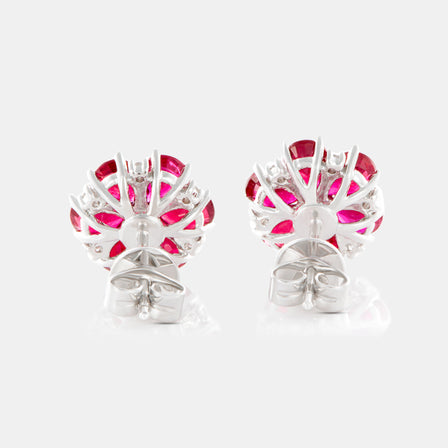 Ruby Anemone Earrings with 18K White Gold and Diamonds