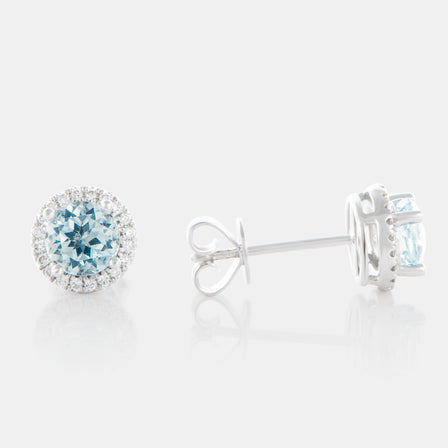 1.22ct Round Aquamarine Earrings with 18K White Gold and Diamond Halo