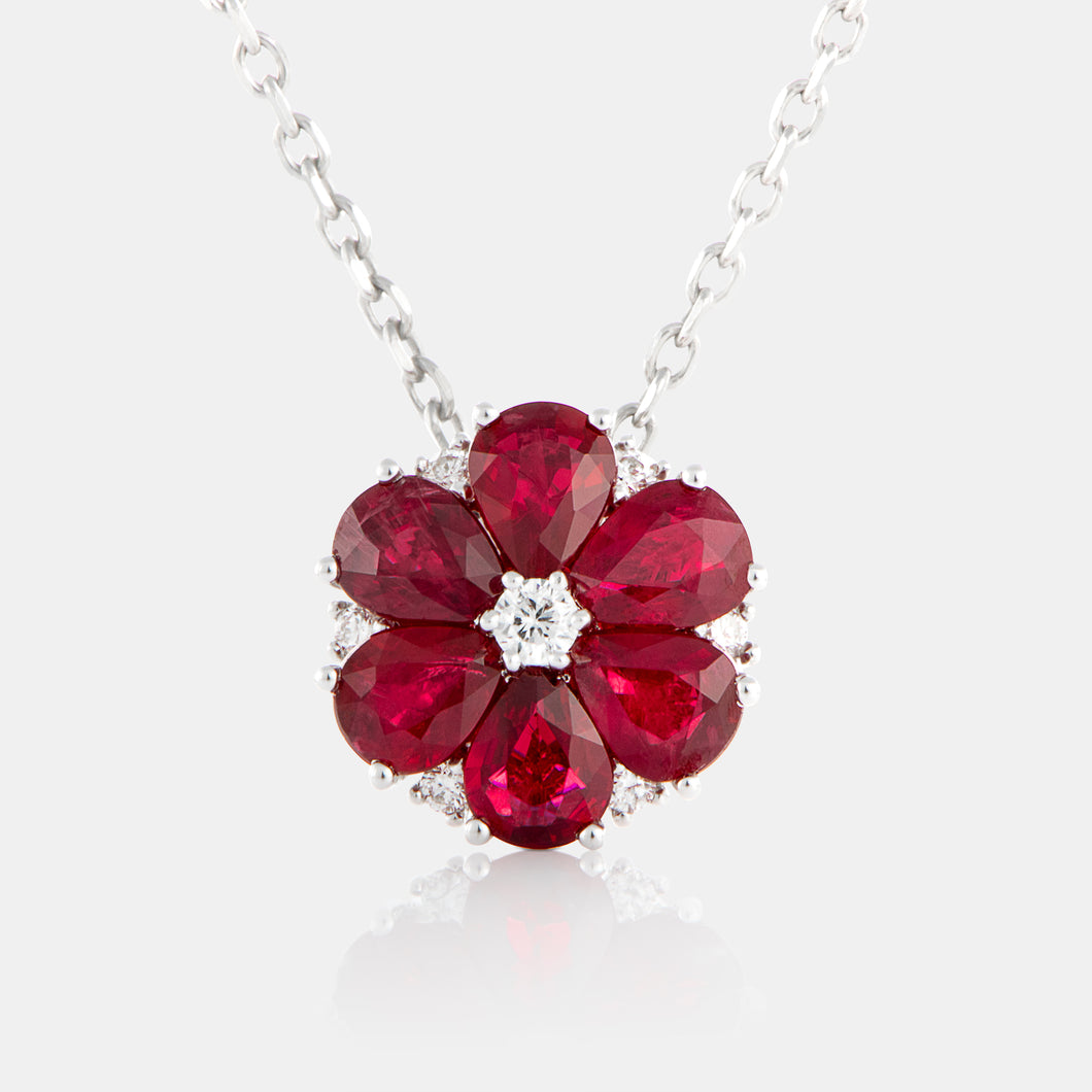 Ruby Anemone Necklace with 18K White Gold and Diamonds