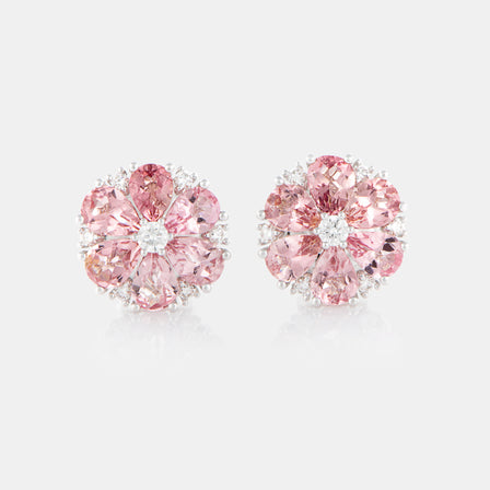 Pink Tourmaline Anemone Earrings with 18K White Gold and Diamonds
