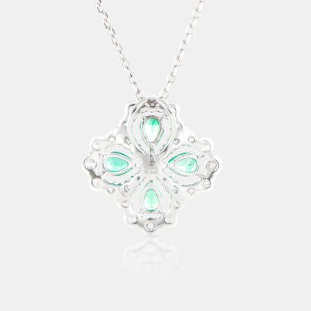 Emerald Primrose Necklace with 18K White Gold and Diamonds