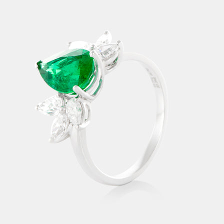 1.54ct Pear Shaped Emerald Petal Ring with 18K White Gold and Diamonds