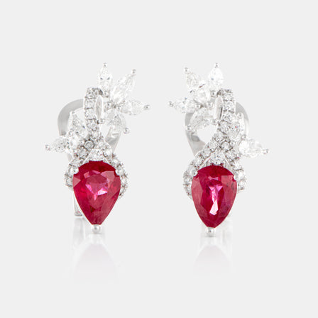 1.53ct Pear Shaped Ruby Petal Earrings with 18K White Gold and Diamonds