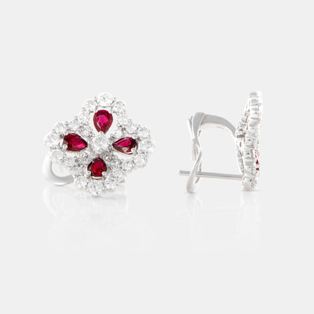 Ruby Primrose Earrings with 18K White Gold and Diamonds
