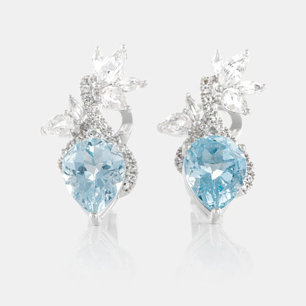 3.47ct Pear Shaped Aquamarine Petal Earrings with 18K White Gold and Sapphires