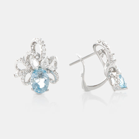 2.94 Oval Aquamarine Ribbon Earrings with 18K White Gold and Diamonds