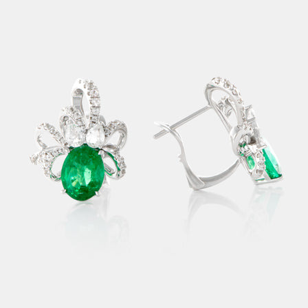 3.24ct Oval Emerald Ribbon Earring with 18K White Gold and Sapphires