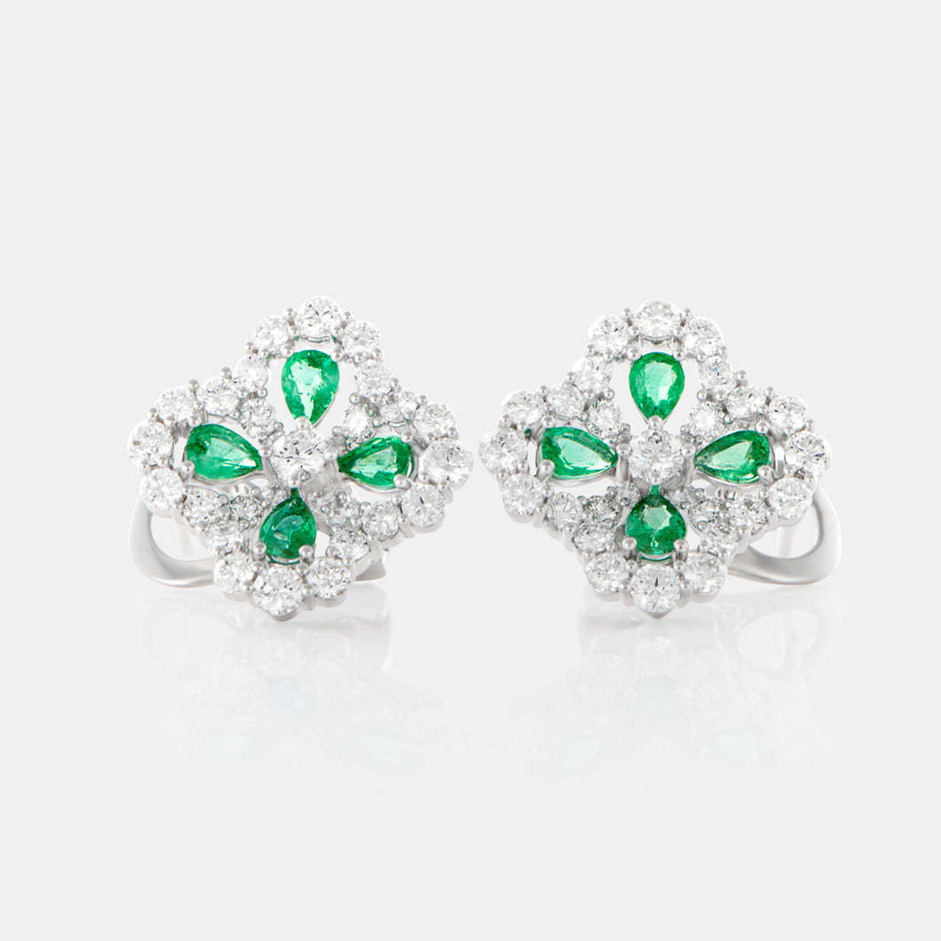Emerald Primrose Earrings with 18K White Gold and Diamonds