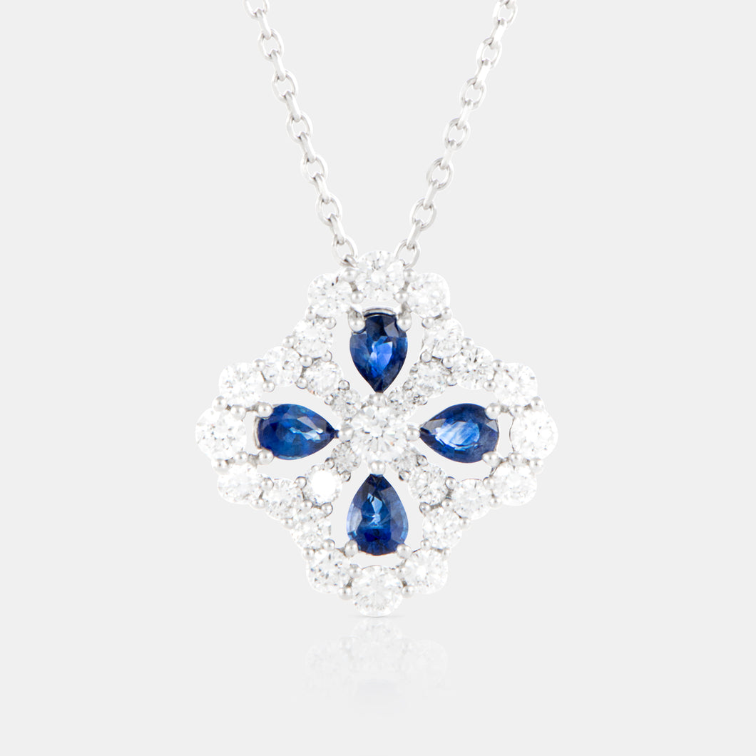 Blue Sapphire Primrose Necklace with 18K White Gold and Diamonds